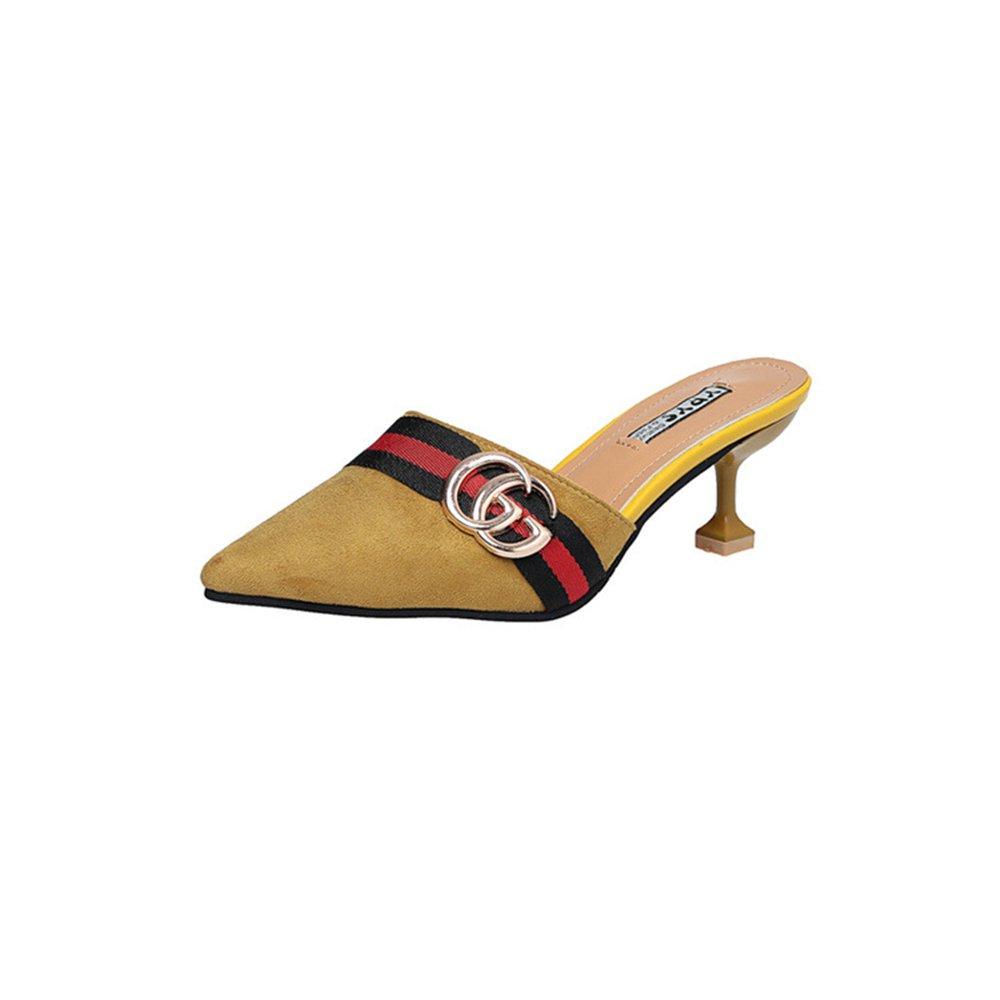 Pointed Toe Bow Kitten Heel Mule Pump Slip on Slide Shoes B07DN6GVTT 35/4.5 B(M) US Women|Yellow-1