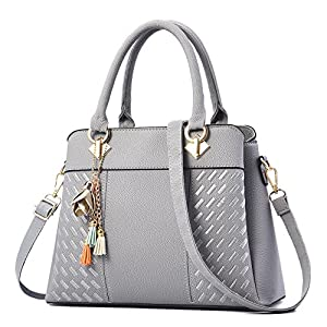 Charmore Womens Handbags Ladies Purses Satchel Shoulder Bags Tote Bag (Light Gray)