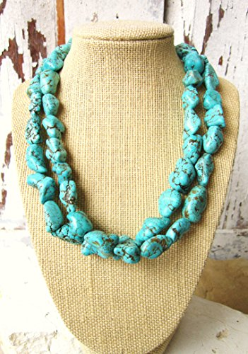 Double Strand Turquoise Nugget Howlite Adjustable Necklace