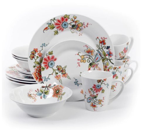 Gibson Home Doraville Stoneware Floral-patterned 16-piece Di