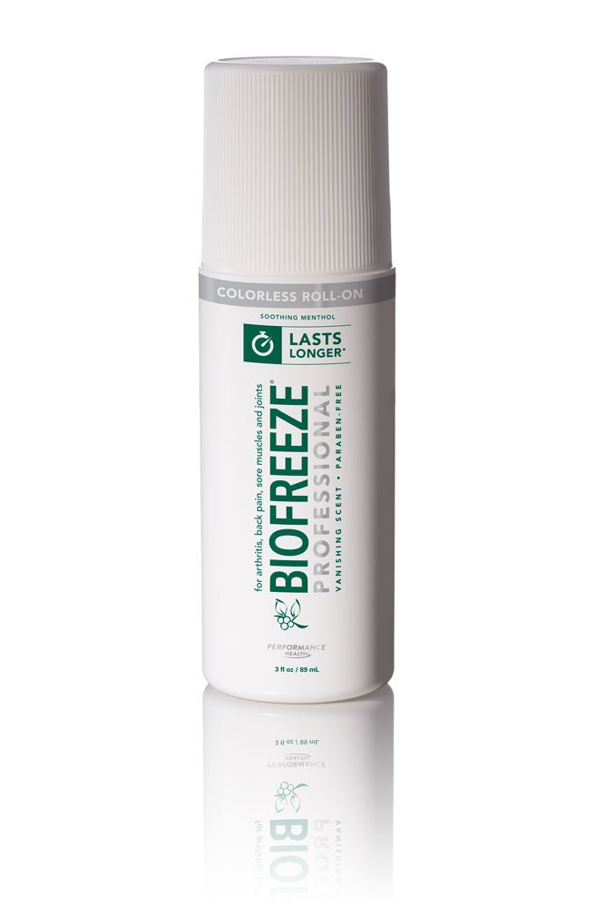 Biofreeze Professional Pain Relieving Gel,Topical Analgesic for Enhanced Relief of Arthritis, Muscle, and Joint Pain, NSAID Free Pain Reliever Cream, Roll-On 3 oz, Colorless Formula, 5% Menthol 13419