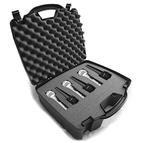 Cardioid Dynamic and Vocal Microphone Hard Case w/ Dense Internal Customizable Foam – Fits up to Six Shure microphones – Shure SM58 , Shure SM57 , Shure BETA 58A , (Microphone Storage)