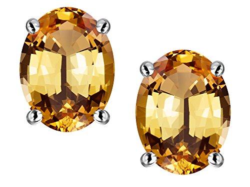 oval imperial topaz stud earrings - 1