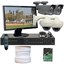 GW Security Inc 4CHH1 4 Channel HD-SDI DVR with 4 x High Definition 2.1 Megapixel 1080P Video Output Vari-Focal Lens Security Camera with Free Monitor (Black/White)