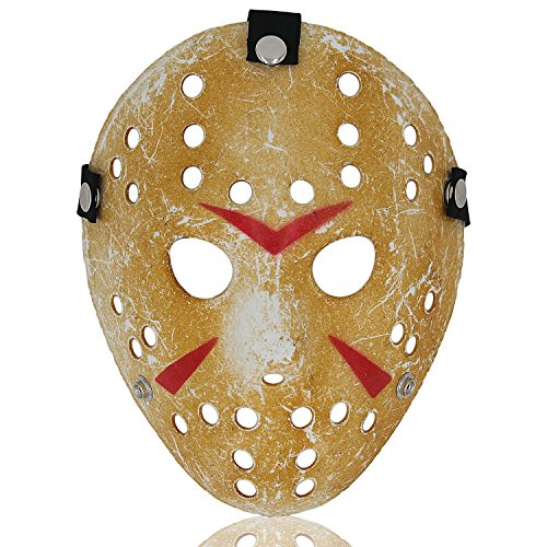 ALIZIWAY Jason Mask Halloween Costume Cosplay Voorhees Hockey Mask 01Y Yellow ()