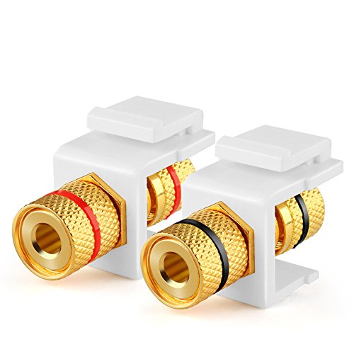 TNP Banana Jack Keystone Insert (Set of 2) - Stereo Speaker Banana Connector Binding Post Snap In Adapter Socket Female Port Inline Coupler For Wall Plate Outlet Panel, 2 Channel Black + Red (1 Pack)