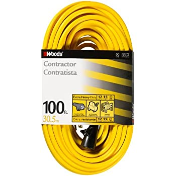 Woods 992555 12/3 SJTW High Visibility Extension Cord with Cord Clip, 100-Foot, Yellow