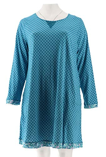 - Carole Hochman Floral Fields& Geo Cotton Sleepshirt Set Teal 2X New A293904
