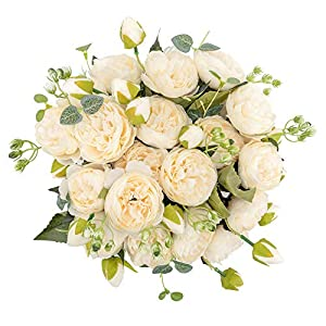 crazylove Silk Peony Artificial White Flowers Bouquet Small Pieces Design for Home Wedding Decoration Indoor (Pack 4,White)