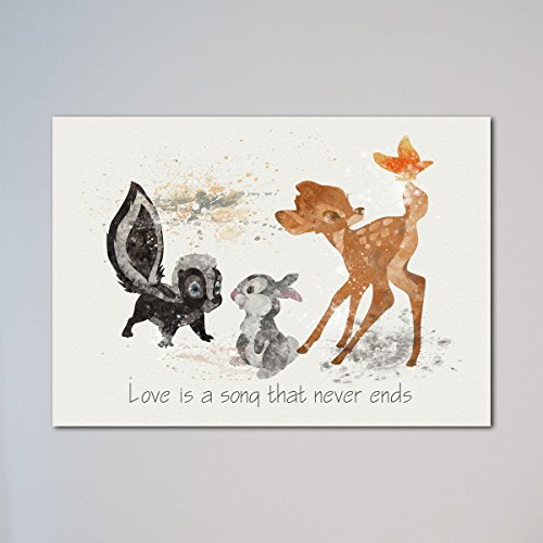 Bambi with Thumper and Flower Quote Print