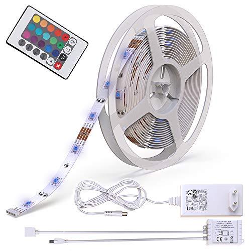 5m Tira de luz LED I 150 LED RGB I Mando a distancia I 12W I autoadhesiva I iluminacion ambiental