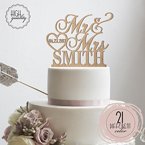 Sugar Yeti Made In USA Personalized Wedding Cake Topper Mr Heart Mrs With Date #32 Wood Styles