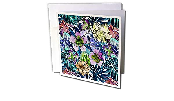 Amazoncom 3drose Uta Naumann Pattern Aloha Cool Blue Hibiscus