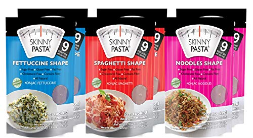 - Skinny Pasta 9.52 oz - The Only Odor Free 100% Konjac Noodle (Shirataki Noodles) - Pasta Weight loss - Low Calorie Food - Healthy Diet Pasta - Variety Pack - 6-Pack