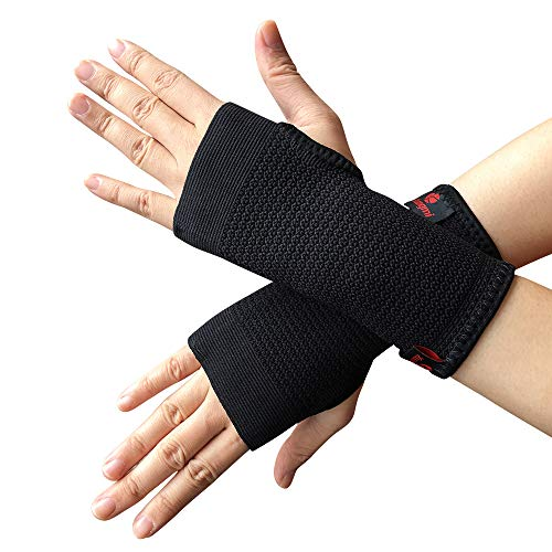 015c333af2 Kuangmi Compression Wrist Support Sleeve Palm Hand Brace Carpal Tunnel  (Small (Pack of 2