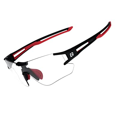 5a0ec0106f Amazon.com : RockBros Cycling Sunglasses Photochromic Bike Glasses for Men  Women Sports Goggles UV Protection Black Red : Sports & Outdoors