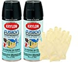 spray paint bundle - Krylon Fusion Gloss Black Spray Paint for Plastic (12 oz) Bundle with Latext Gloves (6 Items)