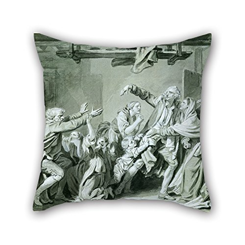 wapreges Throw Cushion Covers 18 X 18 Inches / 45 by 45 cm(Twin Sides) Nice Choice for Kids Room,Deck Chair,car Seat,Divan,her,Teens Oil Painting Jean-Baptiste Greuze - A Father Curses Hos Ungrateful