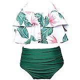 KABETY Girls Swimsuit Two Pieces Bikini Set Ruffle Falbala Swimwear Bathing Suits (Green, 7-8 Years)