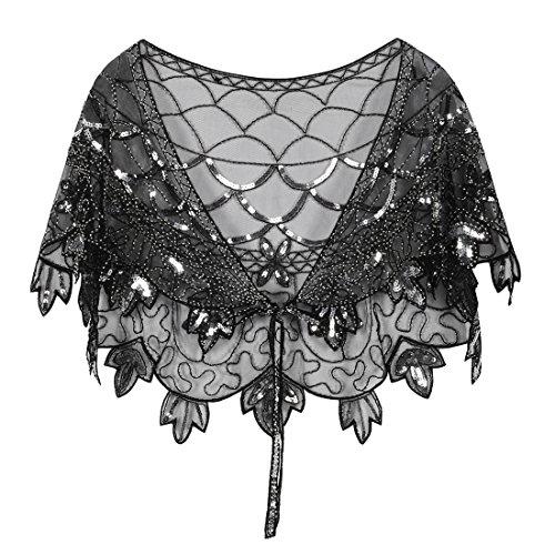 Womens Beaded Embroidered Shawl - PrettyGuide Women's 1920s Shawl Beaded Vintage Bolero Flapper Evening Wraps Black Silver
