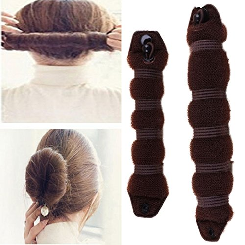 YABINA 2 Pcs Foam Sponge Magic Clip French Twist Hairstyle Donut Bun Ponytail Former Maker Hairstyle Must-haves Tool Accessories (Coffee Small & Large)