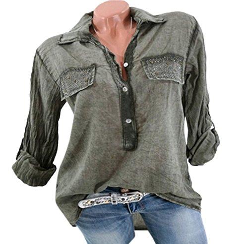 Revers Manches Longues Femmes Tee Printemps et Shirts Tops Mode Chemisiers Verte Automne Casual Hauts JackenLOVE Lache Arme Blouse RwP6OOq