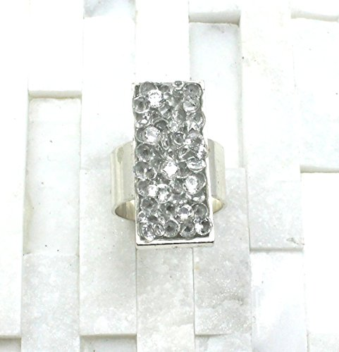 Dazzling cocktail ring adjustable silver