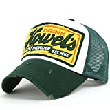ililily Fashion Mesh Caps Pre-curved Cotton Basic Simple Style Unisex Baseball Cap with Adjustable Strap Snapback Trucker Hat - 004-5 Green