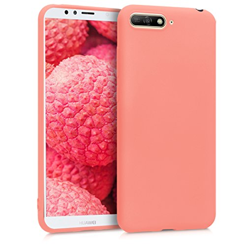 kwmobile TPU Silicone Case for Huawei Y6 (2018) - Soft Flexible Shock Absorbent Protective Phone Cover - Coral Matte