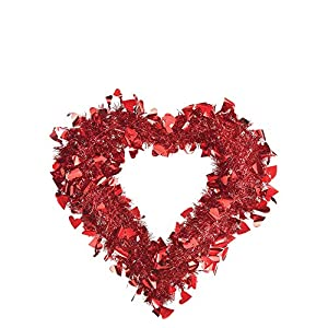 Amscan Red Tinsel Heart Wreath 15 1/2 x 15in Inches 85