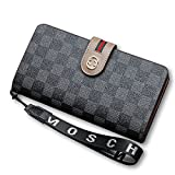 Van Persie Women's Long Bi-fold PU Leather Purse Zipper Card Organizer Fashion Wallet (Black2)