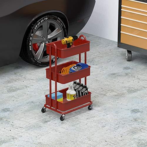 Image of SimpleHouseware Heavy Duty 3-Tier Metal Utility Rolling Cart, Red