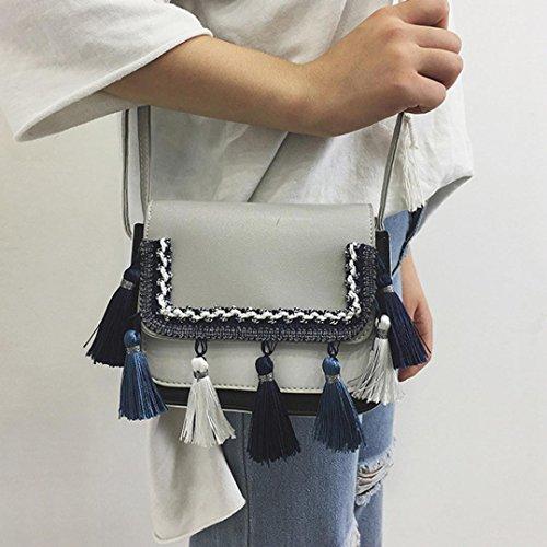 Crossbody Voberry Girls Gray Shoulder Bag Retro Women Bag Handbag Tassel rOrwX1q