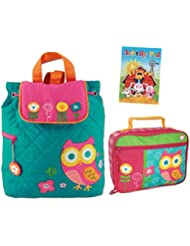 Stephen Joseph Girls Quilted Owl Backpack and Lunch Box with Coloring Activity Pad