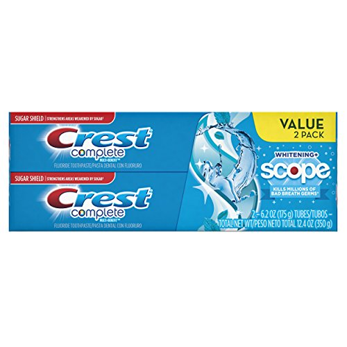 Crest Complete Multi-Benefit Whitening + Scope Toothpaste, Peppermint Flavor - 6.2 Oz Ea, 2 Count by Unknown