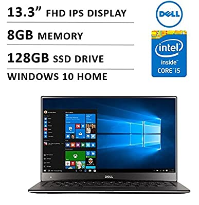 """2016 Newest Dell XPS 13 Premium High Performance Laptop with 13.3"""" FHD IPS Display ( Intel Core i5, 8GB Memory, 128GB SSD, No DVD, Backlit Keyboard, WiFi, Webcam, Bluetooth, Windows 10 ) - Silver"""