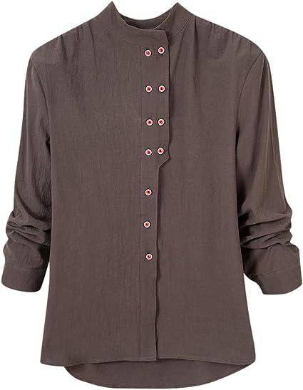 ZODOF camisetas mujer manga larga Casual Talla grande Color sólido Suelto Lino Botón Sayo Camisa Blusa Tops: Amazon.es: Instrumentos musicales
