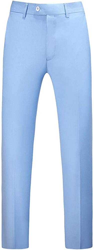 YOUTHUP Mens Trousers Straight Leg Flat Front Formal Wedding Suit Trousers Business Casual Hemmed Pants