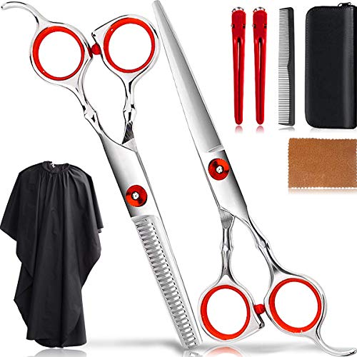 Haircut Scissors Kit Professional Hair Cutting Scissors Set Thinning Shears Salon Hairdressing Scissors Barber Tools/Texturizing Texturing Stainless Steel Sharp Wide Tooth Contain Cape Clips Comb Red