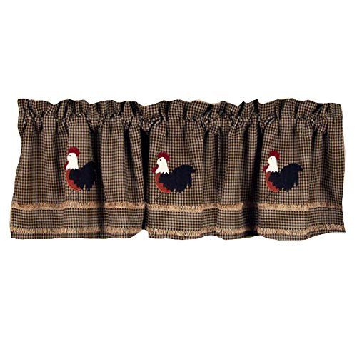 Home Collection by Raghu Rise and Shine Rooster Oat Valance, 72 by 15.5″