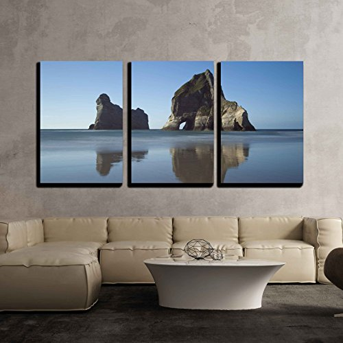 wall26 - 3 Piece Canvas Wall Art - the View of the Famous Archway Islands, New Zealand - Modern Home Decor Stretched and Framed Ready to Hang - 16