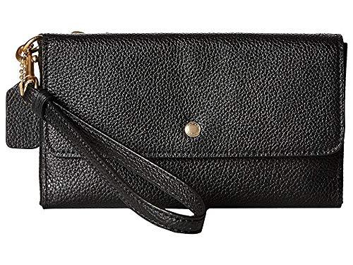 COACH Women's Triple Small Wristlet in Polished Pebble Leather Li/Black One - 2 Leather Handbag Black