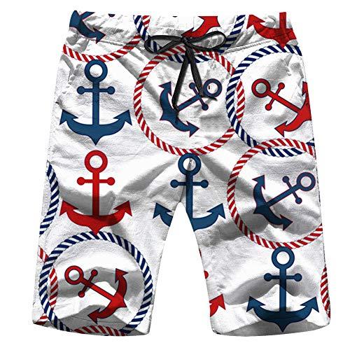 Blue Red Anchors Ropes Transportation Men's Swim Trunks Beach Short Board Shorts XXL