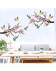 Vogels op boom muurstickers, aquarel tuin bloemen muurstickers, kinderkamer meisjes woonkamer slaapkamer romantische muur decor (2 stuks 60 x 40 cm)
