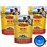 Cheap Zuke's Natural Mini Treats for Dogs Variety Bundle 3 Pack – 36 Ounce Total (Chicken, Duck & Peanut Butter) With Hotspot Pet Travel Bowl