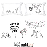 BOLDLOFT Grow Old with You His and Hers Pillowcases|2nd Anniversary Gifts for Her|Cotton