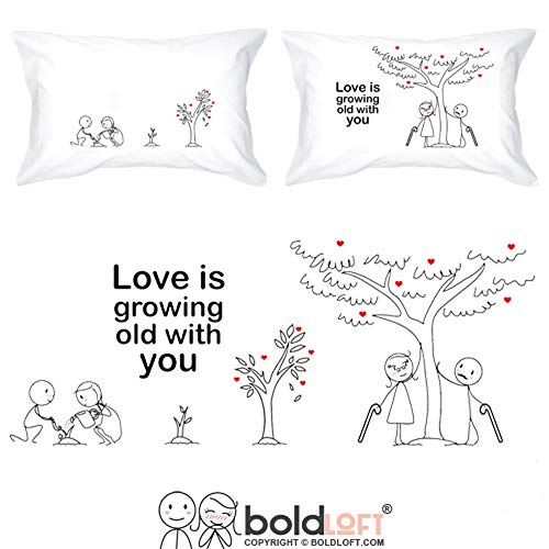 BOLDLOFT Grow Old with You His and Hers Pillowcases|2nd Anniversary Gifts for Her|Cotton Anniversary Gifts for Him|Wedding Anniversary Gifts for Couples|Dating Anniversary Gifts for Her for Him    (Ideas For Two Year Anniversary Gifts For Him)