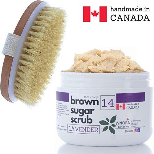 - Sugar Scrub Body Exfoliator + Dry Brushing Body Scrub Brush - Face Body Exfoliating Scrub with 100% Natural Botanics - Handmade in Canada - 10 oz + Body Scrub Brush (Lavender)