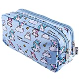 SIQUK Unicorn Pencil Case Large Capacity Pen Bag Double Zippers Unicorn Makeup Bag Stationery Bag Cosmetic Bag with Compartments: more info