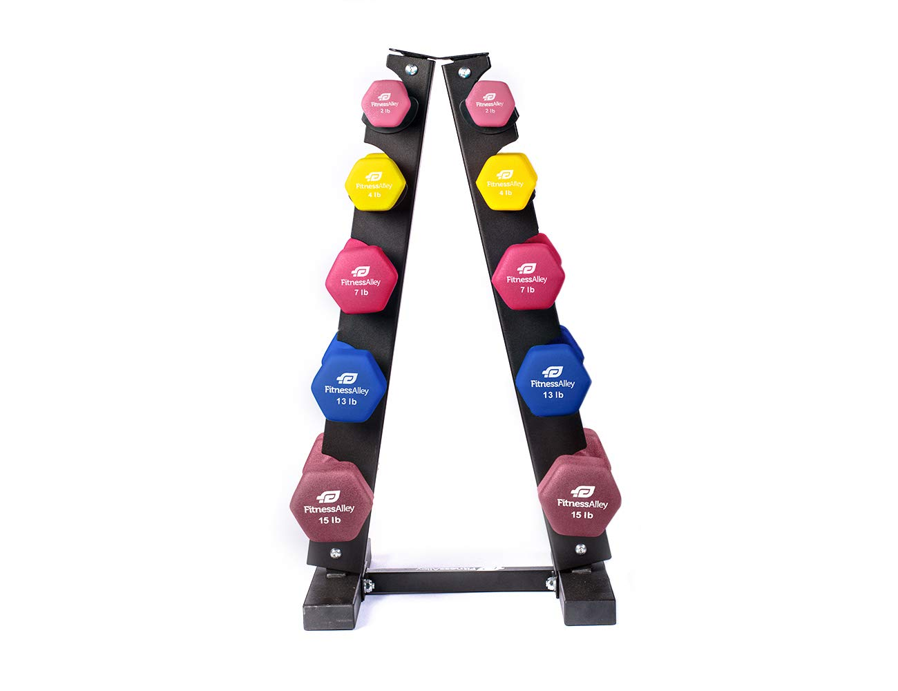 Fitness Alley Neoprene Dumbbells A Frame Rack - Free Weights Hex Hand Weights - Gym Exercise 5 Pairs Set (2lb, 4lb, 7lb, 13lb, 15lb) with 5 Tier Rack